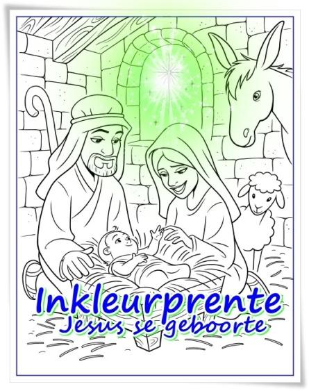 Inkleurprente - Jesus se geboorte 2