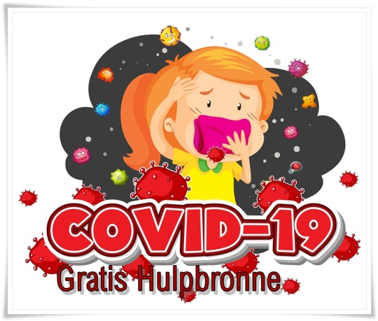 Covid 19 sign template girl and many virus in background