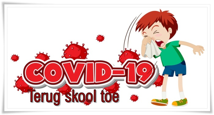 Covid 19 sign template with sick boy sneezing