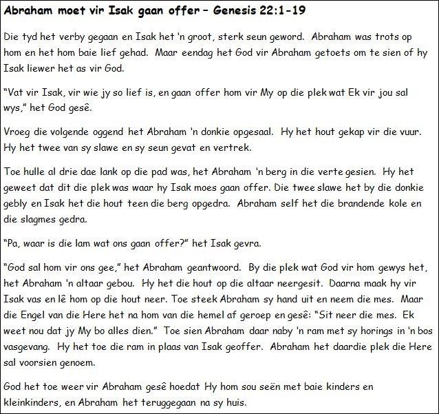 12. Abraham moet vir Isak gaan offer
